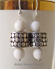 Schaef Designs White Agate & Sterling Silver Armadillo Dot Dangle Earrings| New Mexico