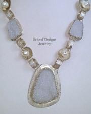 Schaef Designs White Crystal Druzy, Freshwater Pearl & Sterling Silver Necklace | New Mexico