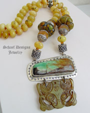 Schaef Designs Yellow Opal Garnet Turquoise Amber Jade Ethnic Necklace | New Mexico