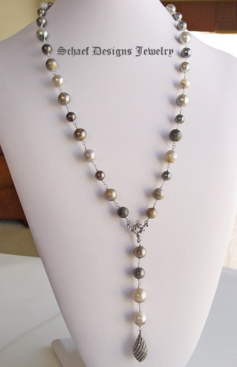 Schaef Designs Multi colored tahitian pearls lariat style necklace with pave diamond swirl pendan | New Mexico