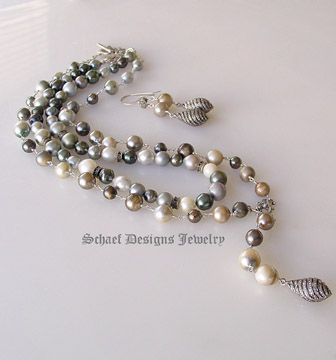 Schaef Designs Multi colored tahitian pearls lariat style necklace with pave diamond swirl pendant | New Mexico