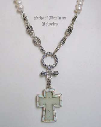 Schaef Designs Druzy Opal Cross pendant on pearl & Sterling silver chain necklace New Mexico
