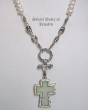Schaef Designs Druzy Opal Cross & Pearl Necklace  | New Mexico