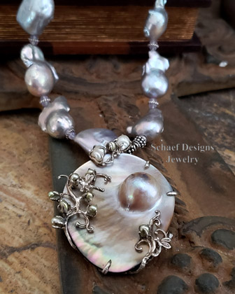 Schaef Designs Nucleated freshwater pearl, scorolite, & sterling silver necklace with mabe pearl pendant | Arizona