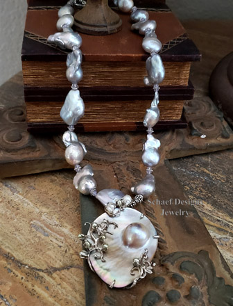Nucleated freshwater pearl, scorolite, & sterling silver necklace with mabe pearl pendant | online upscale designer jewelry boutique | Schaef Designs designer pearl & gemstone jewelry | Arizona