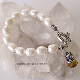Schaef Designs Creamy White freshwater pearl bracelet with sterling silver toggle & onion briolette charm | New Mexico