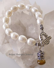 Creamy White freshwater pearl bracelet with sterling silver toggle & onion briolette charm | Schaef Designs Pearl Jewelry | New Mexico
