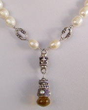 Creamy white freshwater pearls & Sterling silver necklace with onion cut beer quartz briolette pendant | Schaef Designs |New Mexico
