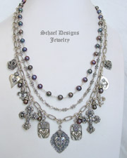 Schaef Designs Peacock Pearl & Sterling Silver Figaro Chain & Charm Necklace | New Mexico