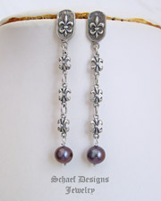 Schaef Designs Peacock Pearl Fluer de Lis Chain POST Earrings | New Mexico