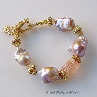 Irridescent Pink to Peach Freshwater Pearls, Imperial Topaz & 22kt Gold Vermeil Bracelet  | Online upscale artisan handcrafted pearl & gemstone jewelry boutique | Schaef Designs Pearl Jewelry | San Diego, CA