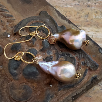 Schaef Designs Irridescent Pink to Peach Freshwater Pearls, Imperial Topaz & 22kt Gold Vermeil Earrings | New Mexico