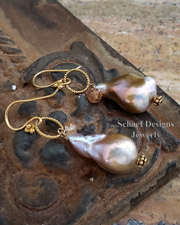 Schaef Designs Irridescent Pink to Peach Freshwater nucleated Pearls, Imperial Topaz & 22kt Gold Vermeil Earrings |New Mexico