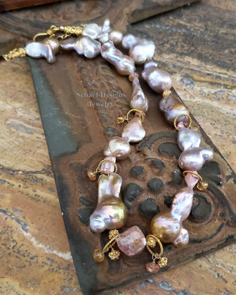 Peach Lustrous Nucleated Freshwater Pearl, Imperial Topaz & gold vermeil Necklace | Online upscale artisan handcrafted jewelry boutique gallery  | Schaef Designs Pearl Jewelry | San Diego, CA
