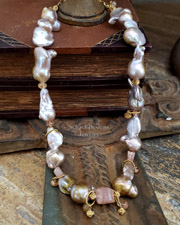 Schaef Designs Irridescent Pink to Peach Freshwater nucleated Pearls, Imperial Topaz & 22kt Gold Vermeil Necklace| New Mexico