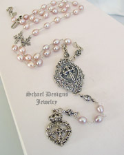 Schaef Designs Pink Freshwater Pearl & Sterling Silver Rosary Style Heart Necklace SET | New Mexico