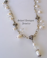 Schaef  Designs White Freshwater Pearl & Sterling Silver Figaro Chain with maltese cross stations and pearl & quartz charms | New Mexico