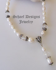 Schaef Designs White Freshwater Pearl & Sterling Silver short necklace with pearl & crystal pendant | New Mexico
