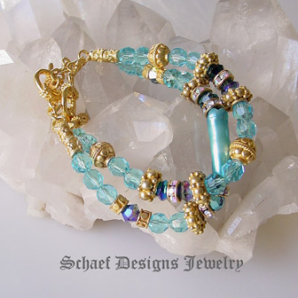 Biwa pearl, swarovski crystal, vintage glass bead, and 24kt gold vermeil pair of 2 bracelets | online upscale artisan handcrafted pearl & gemstone jewelry boutique gallery | Schaef Designs Pearl & Gemstone Jewelry | San Diego, CA