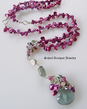 Schaef Designs Raspberry keishi pearl long necklace with moss aquamarine garnets and tourmalines | New Mexico