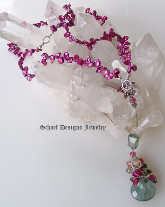 Schaef Designs Keishi Pearl Moss Aquamarine Tourmaline & Rhodolite Garnet Long Necklace | New Mexico