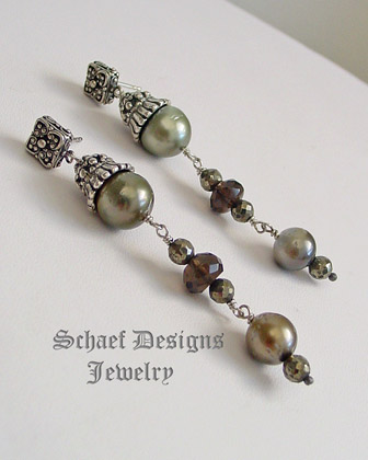 Schaef Designs shaded Tahitian Pearl & faceted bronze pyrite & smokey topaz dangle post earrings | New Mexico