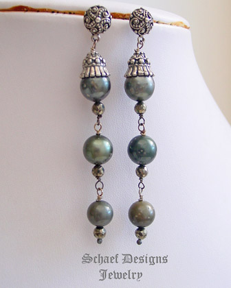 Schaef Designs shaded Tahitian Pearl & faceted bronze pyrite dangle post earrings | New Mexico