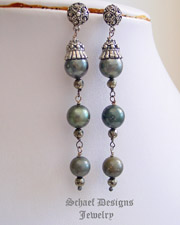 Schaef Designs Shaded Tahitian Pearl & faceted bronze pyrite dangle post earrings |  Tahitian Pearl Jewelry | New Mexico