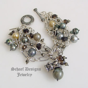 Schaef Designs shaded Tahitian Pearl & faceted bronze pyrite & smokey topaz figaro chain multi strand designer bracelet | Schaef Designs designer gemstone jewelry | New Mexico