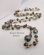 Schaef Designs Tahitian Pearl Smokey Topaz Pyrite & Sterling Silver Wrapping Necklace | New Mexico