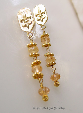 Imperial Topaz & 22kt Gold Vermeil Fleur de lis Earrings  | Online upscale artisan handcrafted pearl & gemstone jewelry boutique | Schaef Designs Pearl Jewelry | San Diego, CA