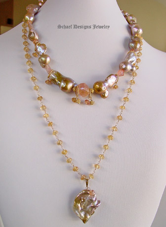 Peach Lustrous Large Freshwater Pearl & 14kt Gold Pendant on Imperial Topaz & 22kt gold vermeil Necklace | Online upscale artisan handcrafted jewelry boutique gallery  | Schaef Designs Pearl & Gemstone Jewelry | San Diego, CA