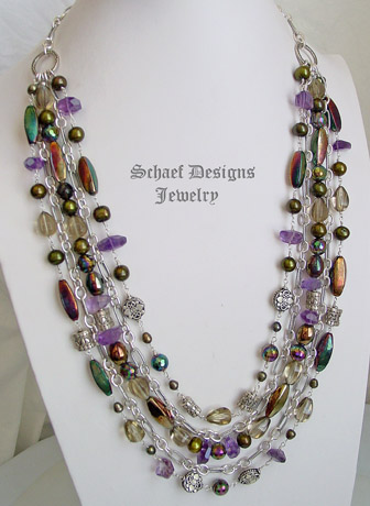 Schaef Designs amethyst, olive quartz, pearl & sterling silver figaro chain multi strand bib necklace | New Mexico