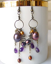 Schaef Designs Bronze Pearl Amethyst artisan handcrafted earrings | New Mexico