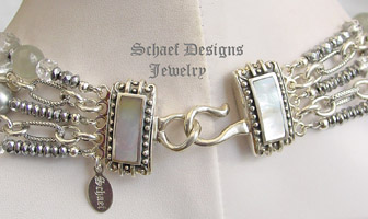 Schaef Designs Gray Pearl, Moonstone, Hematite, Crystal & Sterling Silver Figaro Chain 5 strand bib necklace | New Mexico