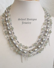 Schaef Designs Gray Pearls Moonstone Hematite & Crystal Figaro Chain Signature 5 Strand Necklace | New Mexico
