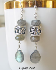 Schaef Designs Labradorite and Sterling Silver Pandora Style Bead Dangle Earrings | New Mexico