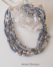 Schaef Designs Kyanite Pearls Pyrite & Sterling Silver Designer Bib Necklace | New Mexico