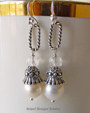 Schaef Designs White pearl, crystal quarz & sterling silver figaro link dangle earrings | New Mexico