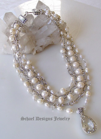 Schaef Designs White pearls clear crystal quartz & sterling silver David Yurman style figaro chain 5 strand designer bib necklace with white topaz & sterling pendant  | New Mexico