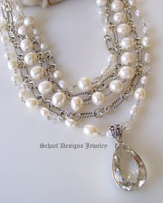 White pearls clear crystal quartz & sterling silver David Yurman style figaro chain 5 strand designer bib necklace with white druzy & opal cross pendant | New Mexico