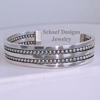 Sterling Silver Unisex Channel Bead cuff braceelt | Schaef Designs | New Mexico