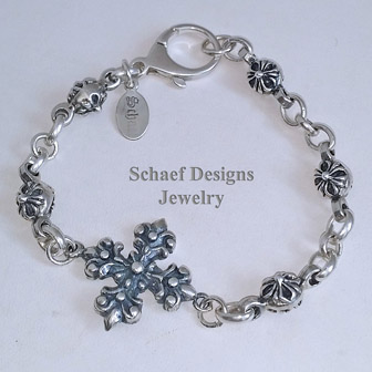 Schaef Designs solid sterling silver rosette link cross bracelet unisex| New Mexico