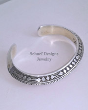 Stamped triangle Sterling Silver Cuff Bracelet UNISEX | Schaef Designs Men's Unisex Jewelry | New Mexico