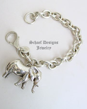 Vintage Susan Cummings Large sterling silver elephant on heavy chain charm bracelet  | Schaef Designs | New Mexico