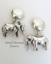 Susan Cummings Sterling Silver Vintage Large Elephant Clip Earrings | Schaef Designs | New Mexico