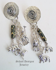 Schaef Designs Trade Bead & Sterling Silver Endangered Species Animal Dangle POST Earrings  | New Mexico