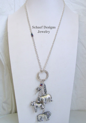 Susan Cummings sterling silver endangered species African animal lariat charm necklace |  Schaef Designs | New Mexico