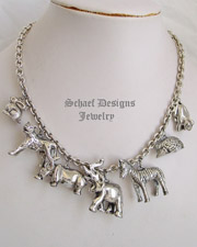 Susan Cumming IWLF Endangered Species Sterling Silver African Animal Vintage Charm Necklace | Schaef Designs | New Mexico