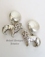 Susan Cummings Sterling Silver Vintage Large Lion Clip Earrings| Schaef Designs | New Mexico